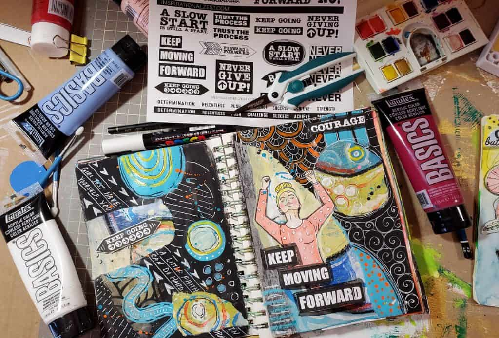 Keep Moving Forward Inspirational, Mixed Media Art Journal Spread